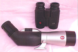Leica 8x32 BN 'Trinovid' binoculars and a Leica APO-Televid 62 prismatic spotting scope