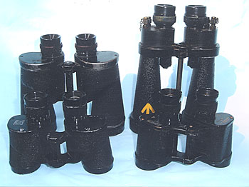 Examples of the principal Allied hand-held binoculars of World War Two. All serviced by Optrep